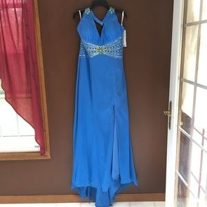 Bright Blue Halter Bling Gown